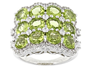 Green Peridot Sterling Silver Ring 8.65ctw