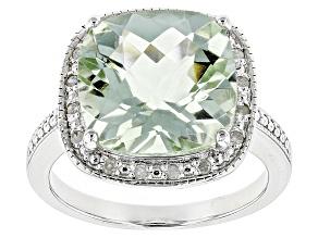Green Prasiolite 18k White Gold Over Sterling Silver Ring 5.11ctw