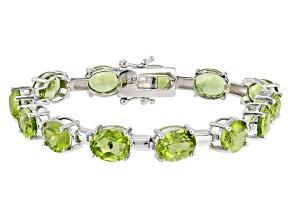 Green Peridot Sterling Silver Bracelet 38.00ctw