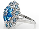 Blue Neon Apatite Sterling Silver Ring 4.14ctw