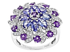 Blue Tanzanite Sterling Silver Ring 3.60ctw