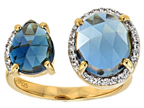 London Blue Topaz 18k Gold Over Silver Ring 7.59ctw