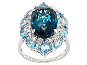 London Blue Topaz Sterling Silver Ring 8.82ctw