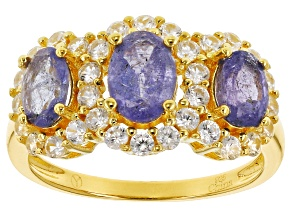 Blue Tanzanite 18k Gold Over Silver Ring 2.80ctw