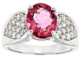 Pink Danburite Sterling Silver Ring 4.17ctw