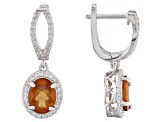 Red Hessonite Rhodium Over Sterling Silver Earrings 5.52ctw