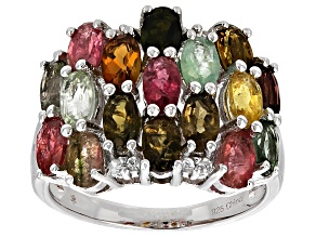 Multicolor Tourmaline and White Zircon Rhodium Over Sterling Silver Ring 4.15ctw
