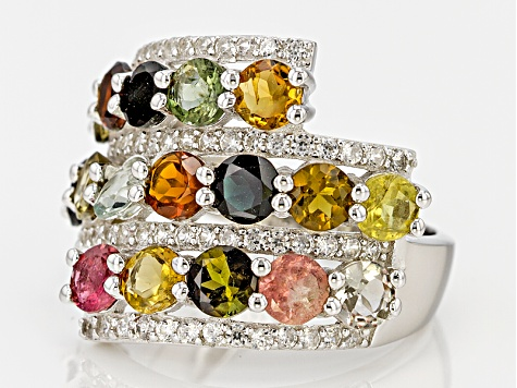 Multicolor Tourmaline Sterling Silver Ring 4.94ctw