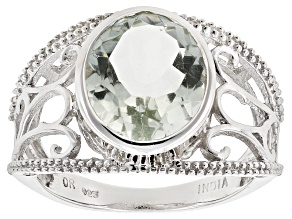 Green Prasiolite Sterling Silver Ring 4.45ct