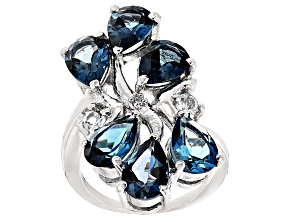 London Blue Topaz Sterling Silver Ring 9.30ctw