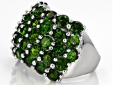 Green Chrome Diopside Rhodium Over Sterling Silver Ring 7.15ctw