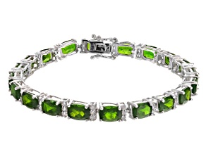 Green Chrome Diopside Rhodium Over Sterling Silver Bracelet 17.88ctw