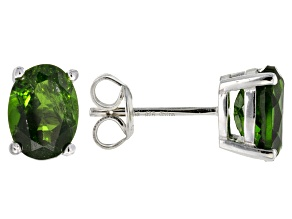 Green Chrome Diopside Sterling Silver Earrings 2.62ctw