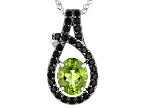 Green Peridot Rhodium Over Silver Pendant With Chain 4.10ctw