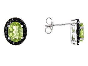 Green Peridot Rhodium Over Sterling Silver Earrings 3.40ctw