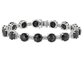 Black Spinel Sterling Silver Bracelet 34.75ctw