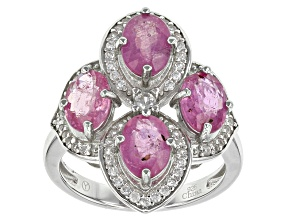 Pink Mahaleo Sapphire Sterling Silver Ring 5.50ctw