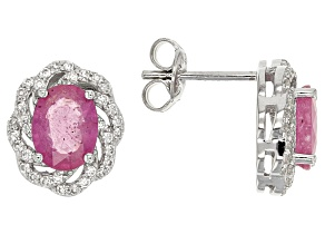 Pink Mahaleo Sapphire Sterling Silver Earrings 4.04ctw