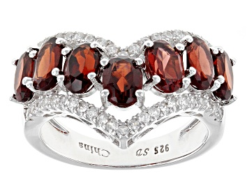 Picture of Red Garnet Rhodium Over Sterling Silver Ring 4.17ctw