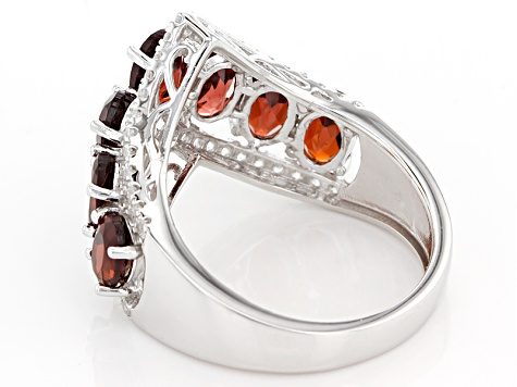 Red Garnet Rhodium Over Sterling Silver Ring 4.17ctw
