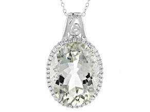 Green Prasiolite Rhodium Over Sterling Silver Pendant With Chain 17.80ctw