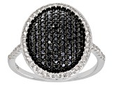 Black Spinel Sterling Silver Ring 1.06ctw