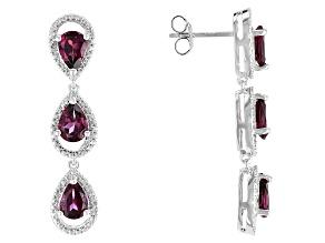 Raspberry Color Rhodolite Sterling Silver Earrings 5.40ctw