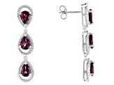 Raspberry Color Rhodolite Sterling Silver Earrings 5.40ctw