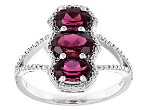 Raspberry Color Rhodolite Sterling Silver Ring 2.10ctw