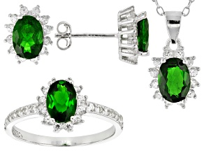 Green Chrome Diopside Rhodium Over Sterling Silver Jewelry Set 5.41ctw