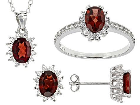 Red Garnet Sterling Silver Jewelry Set 5.41ctw