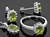 Green Peridot Rhodium Over Sterling Silver Jewelry Set 5.41ctw