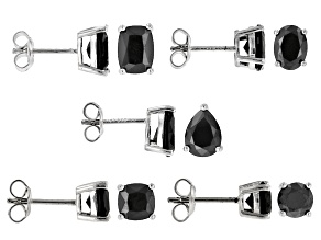 Black Spinel Sterling Silver Earrings 5-Pairs Set 12.50ctw