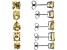 Yellow Citrine Rhodium Over Sterling Silver Earrings 5-Pairs Set 10.00ctw