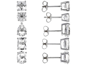 White Crystal Quartz Rhodium Over Sterling Silver Earrings Set of 5 10.00ctw