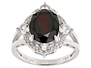 Red Garnet Sterling Silver Ring 5.34ctw