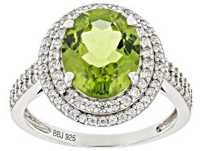 Green Peridot Sterling Silver Ring 4.10ctw