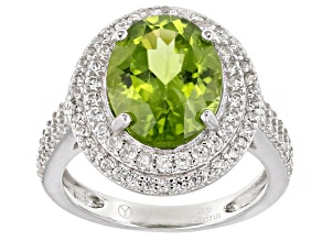 Green Peridot Rhodium Over Sterling Silver Ring 4.10ctw