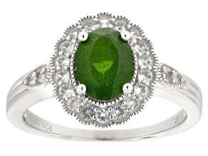 Green Chrome Diopside Sterling Silver Ring 1.65ctw
