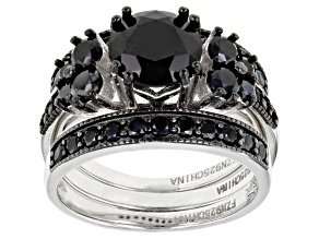Black Spinel Rhodium Over Sterling Silver 3 Ring Set 3.92ctw