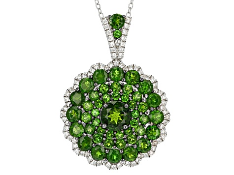 Green Chrome Diopside Sterling Silver Pendant With Chain 5.80ctw