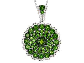 Green Chrome Diopside Rhodium Over Sterling Silver Pendant With Chain 5.80ctw