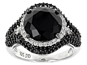 Black Spinel Sterling Silver Ring 6.72ctw