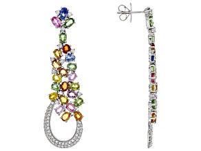 Multi-Sapphire Sterling Silver Earrings 12.65ctw