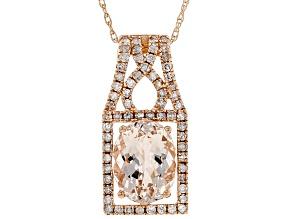 Peach Morganite 14k Rose Gold Pendant With Chain 1.90ctw