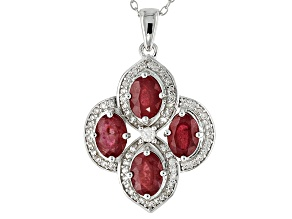 Red Ruby Sterling Silver Pendant 4.15ctw