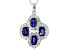 Blue Sapphire Sterling Silver Pendant With Chain 4.35ctw