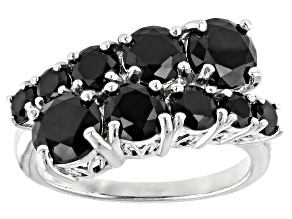 Black Spinel Rhodium Over Sterling Silver Ring 3.80ctw