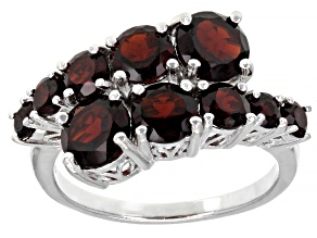 Red Garnet Rhodium Over Sterling Silver Ring 3.80ctw