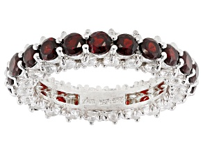 Red Garnet Rhodium Over Sterling Silver Eternity Band 4.84ctw